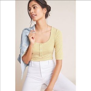 ANTHROPOLOGIE Ribbed henley bodysuit